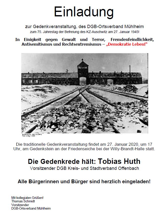 Gedenkveranstaltung Mühlheim