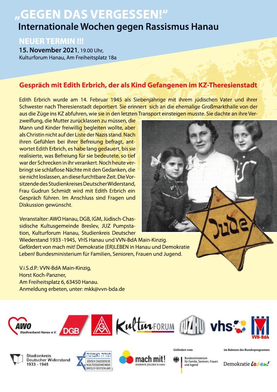 Hanau: Gespräch mit Edith Erbrich, als Kind im KZ Theresienstadt